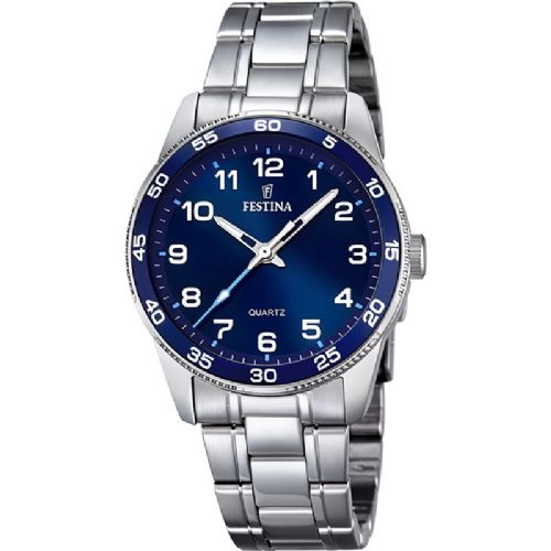 F16905/2 Festina ladies stainless steel blue face bracelet watch with arabic dial